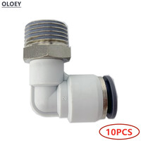 10PCS PL Pneumatic Elbow Connector Fitting Plug Socket Tube Air Push In Fitting OD4 6 8 16 MM BSP Male Thread /8''1/4''3/8''1/2