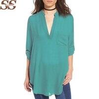 2017 New Arrival V-neck Long Sleeve Loose Chiffon Shirt Sexy Casual Chiffon Blouse Plus Size S-5XL Tops Blusas Femininas