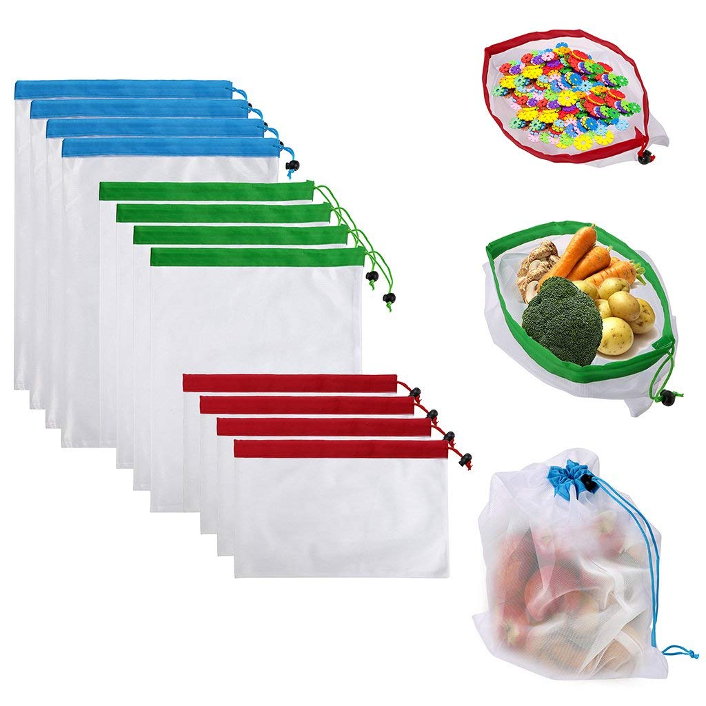 DCOS 12Pcs Reusable Produce Storage Bags Washable Mesh Bag Grocery Shopping Bag For Fruit/Vegetable - 3 Various Sizes