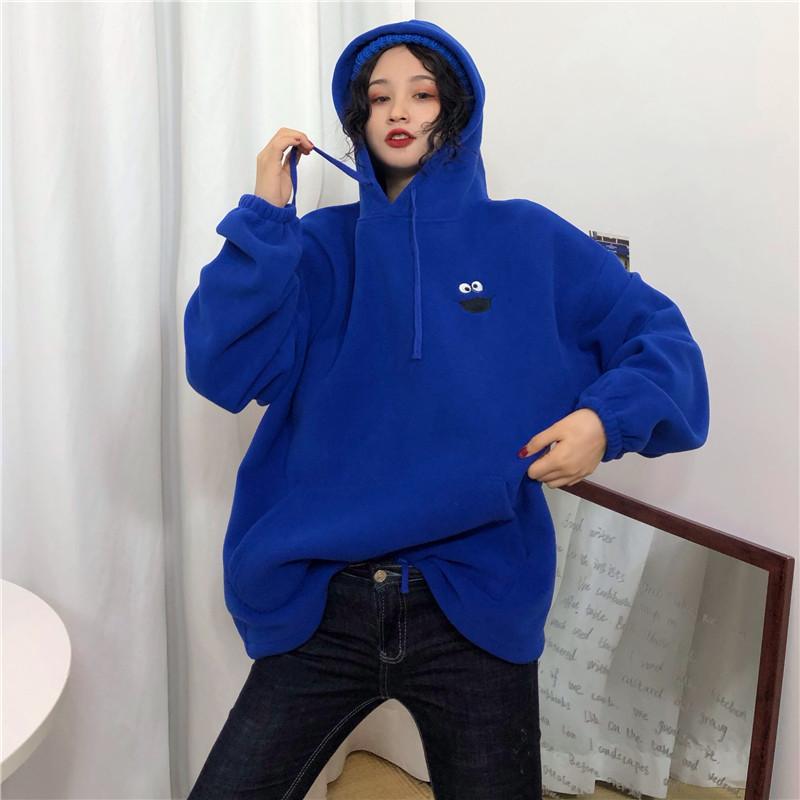 Hoodies Women Pockets Embroidered Cartoon Trendy Cute Female Loose BFplus Velvet Womens Long Sleeve All-match Lovely Streetwear 25