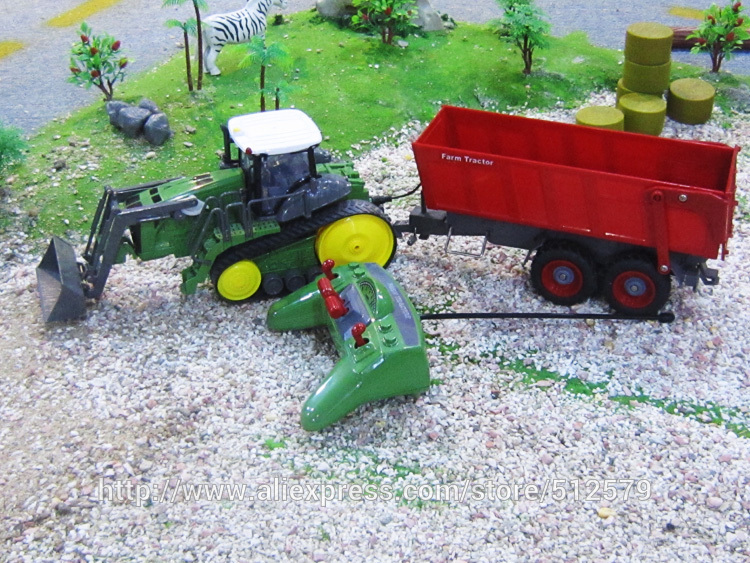 ФОТО Big Electric Digger Remote Control Multifuncional rc farm trailer children tractor truck  Rc Excavator Toy Car