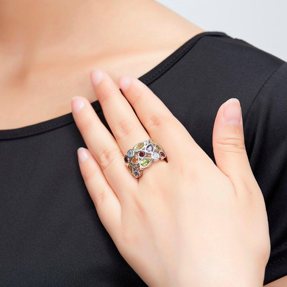Hutang マルチ宝石の女性のリング本物のトパーズガーネットシトリン 925 スターリングシルバークラスターリングためのエレガントなジュエリーギフト  グループ上の ジュエリー & アクセサリー からの 指輪 の中 2