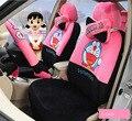 very Cute Short plush cartoon cat Car Seat Covers universal car seat covers universal Accessories car Interior - 18 Pcs a set