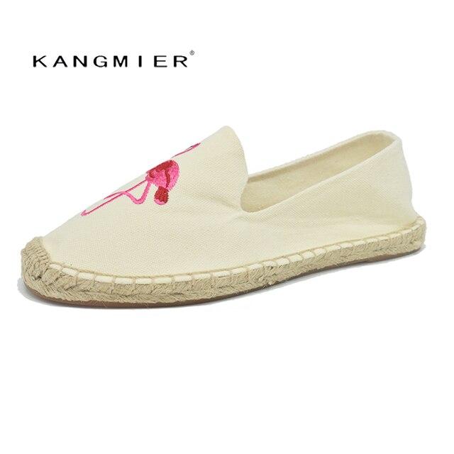 9ae38b7b3 women espadrilles alpargatas flats hemp shoes Flamingo embroidered black  Beige KANGMIER brand