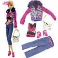 Winter Fashion Outfit Street Snap Costume Fur Collar Coat Jacket Belt Jeans Bag Shoes Clothes For Barbie FR Doll Play House Toy