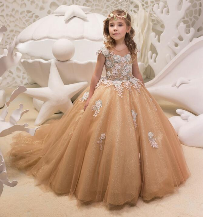Romantic Girls Puffy Lace 3D Applique Flower Girl Dress for Weddings Organza Ball Gown Girl Party Communion Dress Pageant Gown orange puffy flower girls dresses for weddings jewel organza lace girls pageant dress open back lace up kids birthday gown