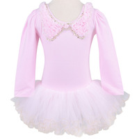 Retailed Pink Blue White Long Sleeve Dance Dress Leotard Ballet Tutu Dress Skate Party Show Skirt