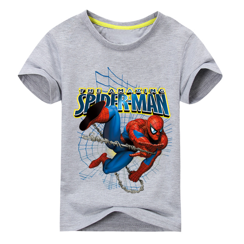 2018 Children Summer 3D Spiderman Printed T Shirt For Boy Short Sleeves Clothes Girls White Tee Tops Clothing Kids T-Shirt DX032 round neck starry sky grass print short sleeves 3d t shirt for men