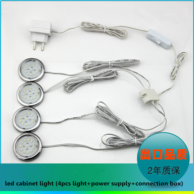 цена на 4-in-1 led cabinet light set DIY 12V 1W LED puck light furniture light with switch power adapter and connection box one set
