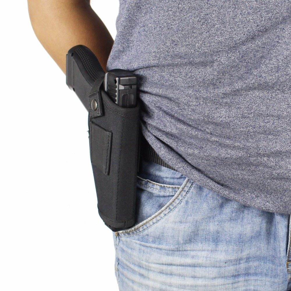 US $4 74 5% OFF|Gun Holster Concealed Carry Holsters Belt Metal Clip IWB  OWB Holster Airsoft Gun Bag Hunting Articles For All Sizes Handguns-in