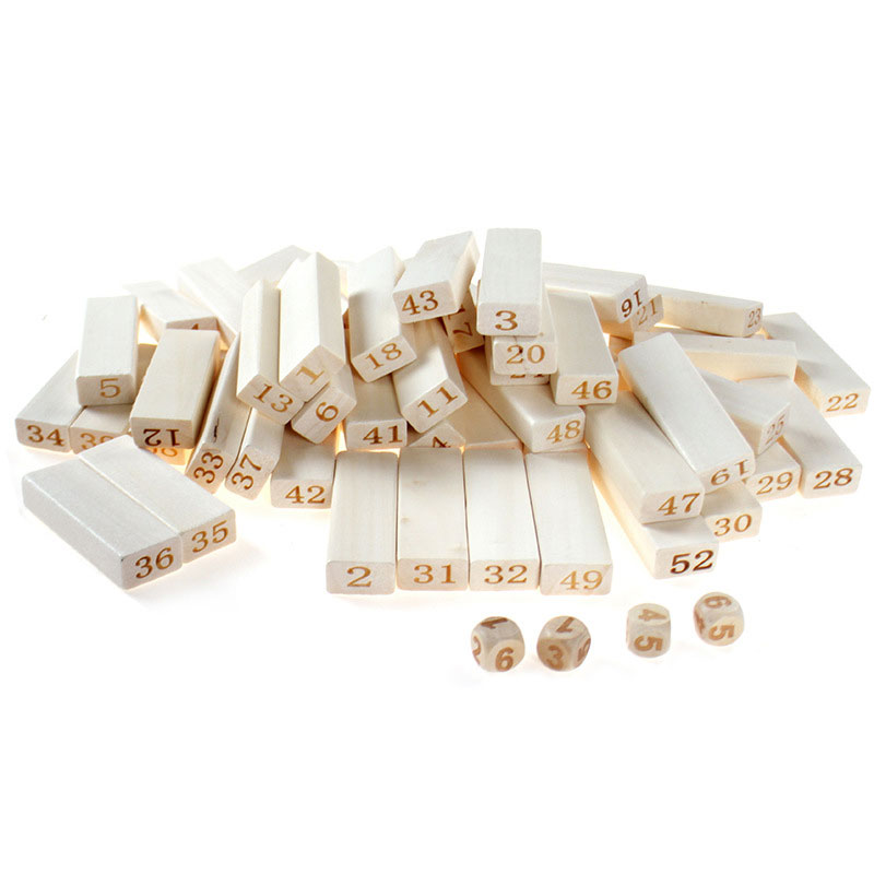 Qualité montessori En Bois 54 Pcs briques De Construction En Bois Blocs Domino Jenga Jeu de table jouets Amusant Enfants Cadeau présent - 3