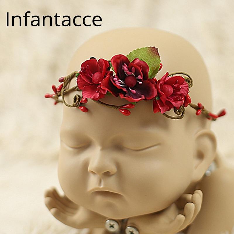 handmade Baby Headband, Newborn Headband, fałszywy kwiat, Baby Girl, - Odzież dla niemowląt - Zdjęcie 1