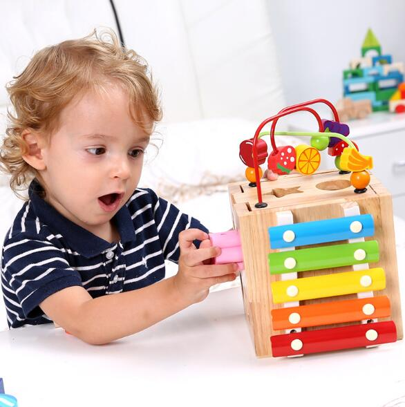 NEW Wooden Bead Maze Activity Cube Natural & Non-toxic Activity Center Box Early Learning Educational toys for Children wooden kids stringing bead roller coaster maze puzzle toy early educational toys for baby children vegetable pattern round bead