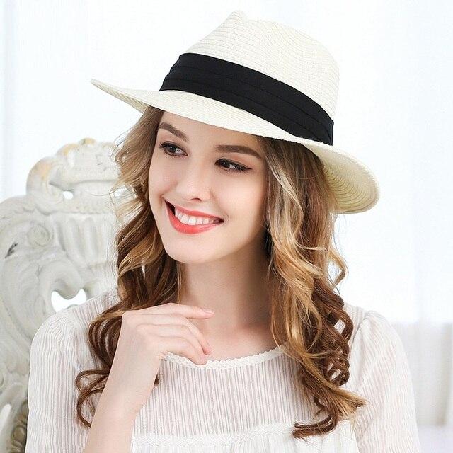 f0f1d9a3b82 Lady Panama Sun Hat Wide Brim Adult Straw Panama Fedora Hat Summer Straw  Cap Women Floppy Sunscreen Hat Ribbon Bow Cap B-7682