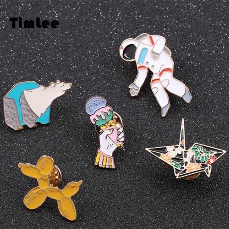 Timlee X269 modni crtani Enemal Pin slatka balon polarni medvjed broš igle, modni nakit na veliko.