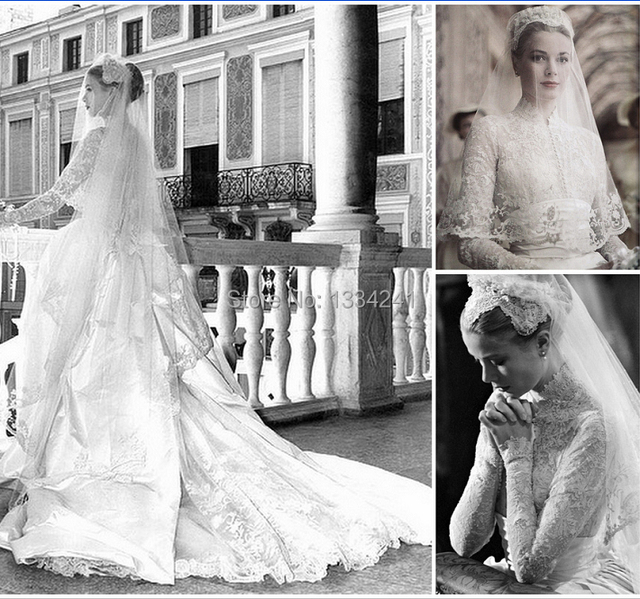 Vintage 1960s Bridal Gowns Winter High Collar Lace Long Sleeve ...