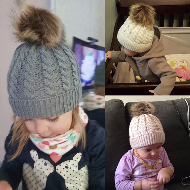 9a712bf3482 Children s hemp knitting wool hat with hair ball hat baby winter warm hat  ebay sells Europe and America hot style-in Hats   Caps from Mother   Kids  on ...