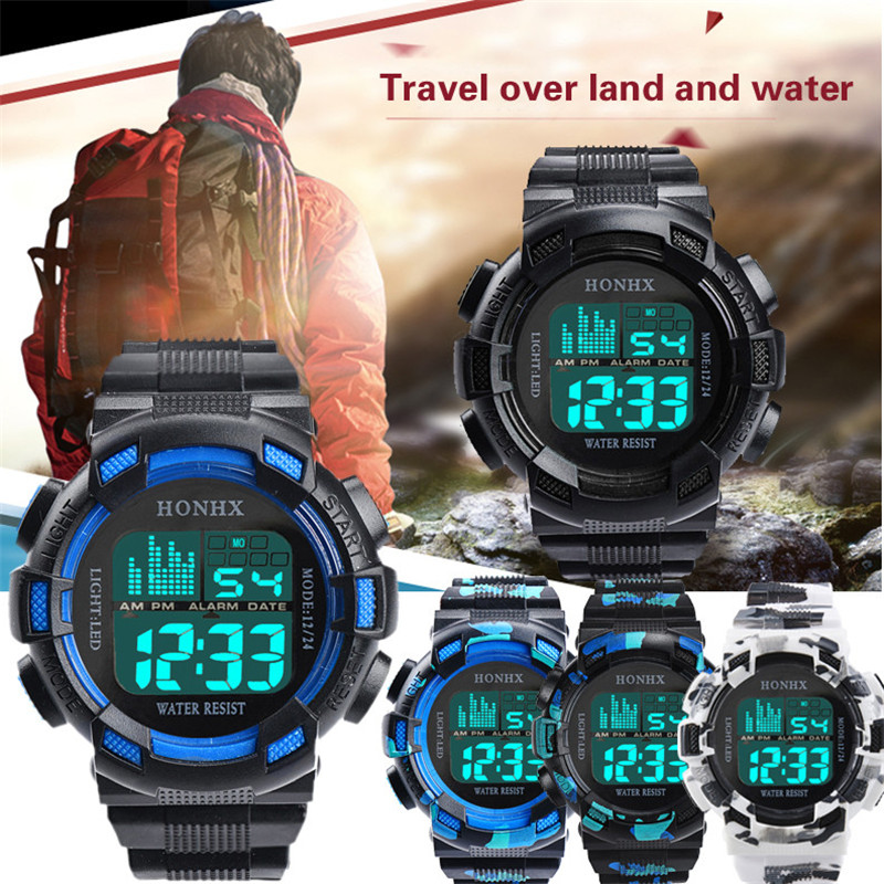 Digital Watch Men Women Relogio Sport Mens LED Digital Date Alarm Waterproof Sports Army Quartz Watch #2019