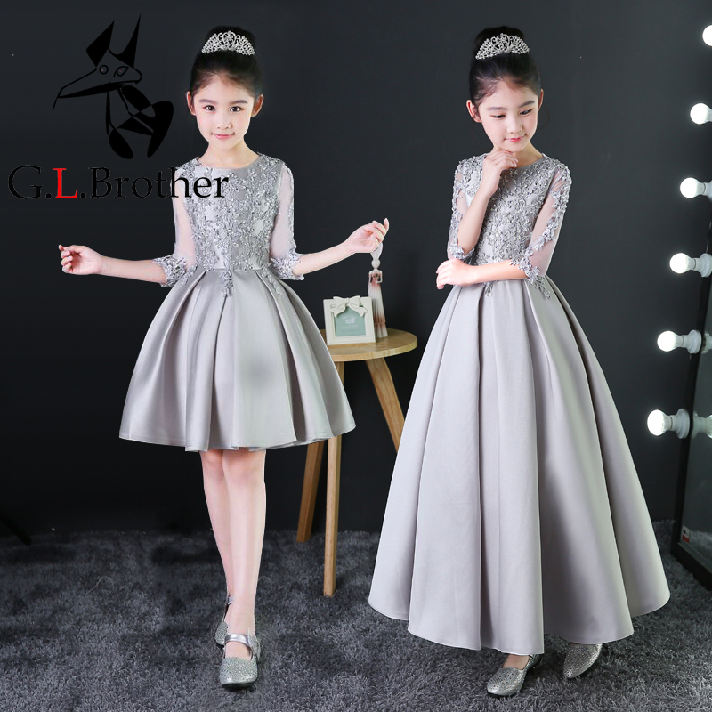 Silver Princess Dress Appliques Kids Girls Formal Dress Birthday Costume Hollow-out Sleeve Pleated Prom Party Dress Gown B74 pleated halter hollow out backless maxi dress