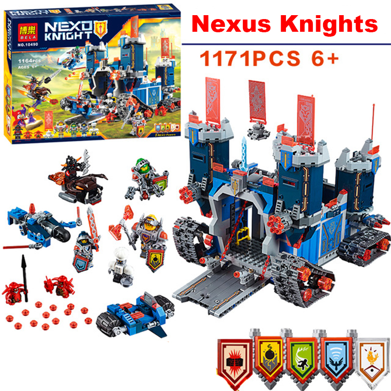 1166Pcs LEPIN Compatible 14006 Nexus Knights The Fortrex Castle Building Blocks Bricks Super Large Size Toys For Children Gift 2017 lepin 14026 nexus knights building blocks set lance vs lightening minifigures kids gift bricks toys compatible with 70359