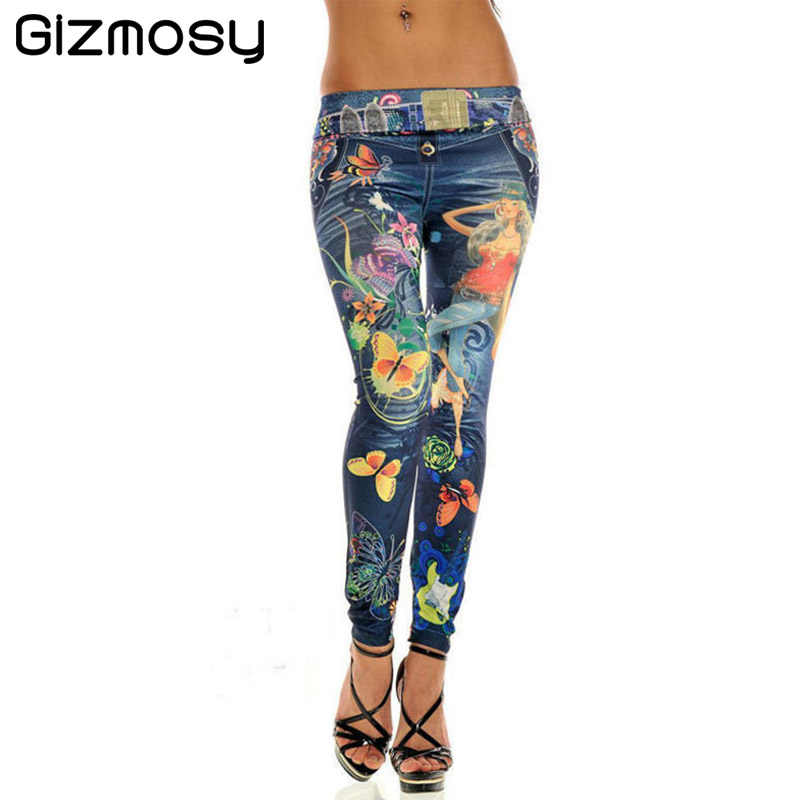 fd45a79dac073 Plus Size Slim New Women Sexy Seamless Imitation Cowboy Pants Printed  Leggings Elasticity Fashion Butterfly Girl