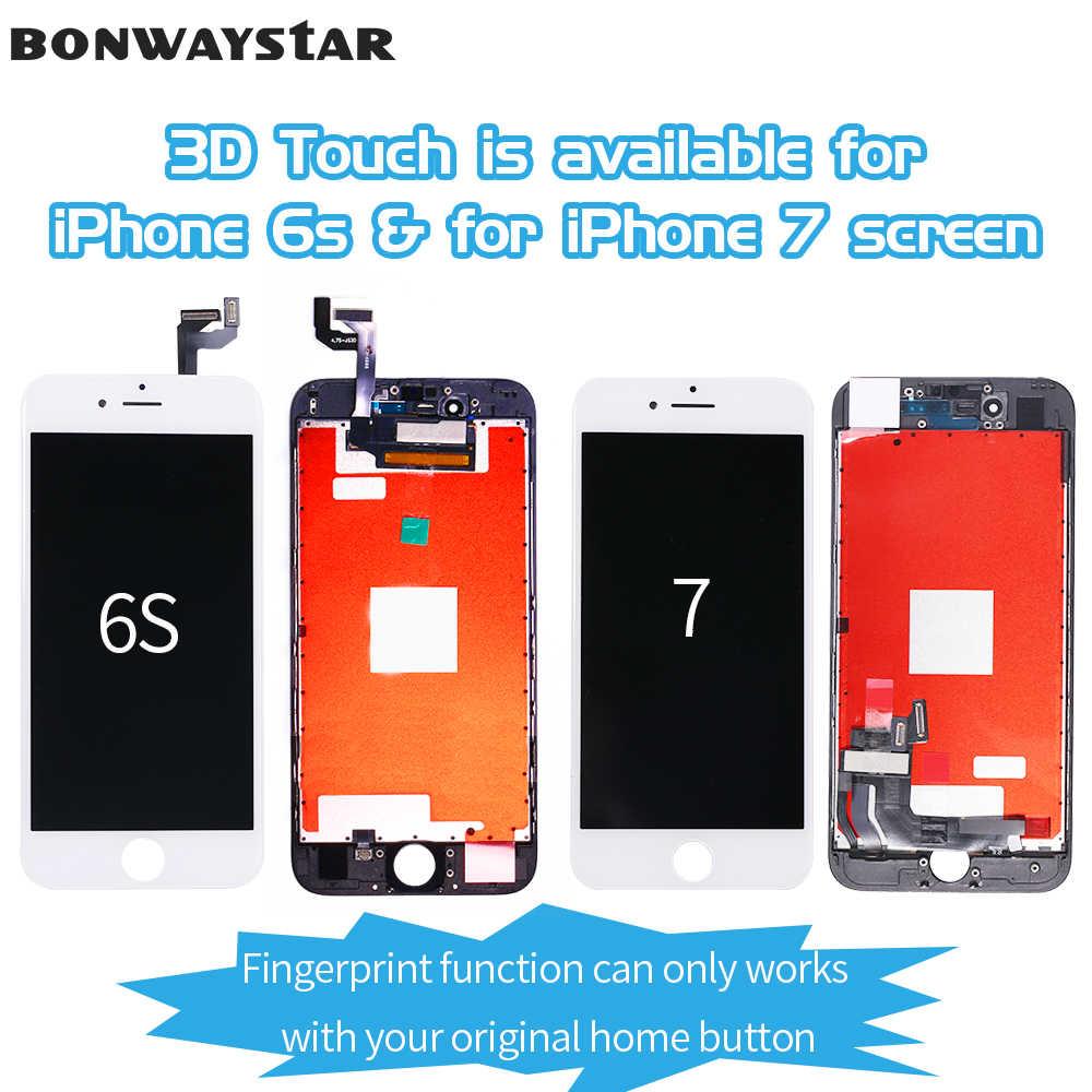 AAA + + + شاشة الكريستال السائل ل فون 6 7 اللمس غيار للشاشة محول الأرقام الجمعية ل فون 5S SE 6S LCD شاشة لا الميت بكسل