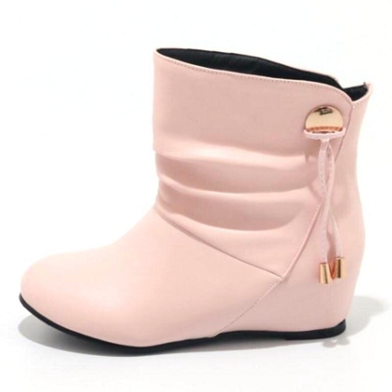 Mujeres Señoras rosado Invierno Caliente Media Botas Altura Calzado Metal Tamaño Taoffen 33 43 En Deslizamiento Negro Pantorrilla blanco Decoración Mujer Zapatos 8wqHng