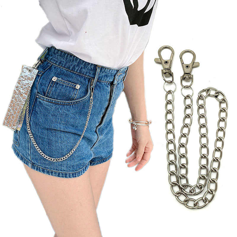 Personality Waist Chain Punk Hip Hop Rock Pants Chain Metal Keychains Key Ring Buckle Men Women Bag Trinket Pendant A9335