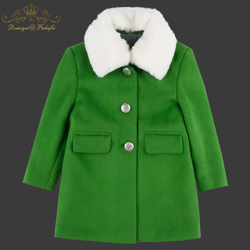 2018 Winter Baby Jackets Autumn Kids Coats Jackets Clothing Baby girl Clothes Green Woolen Coats Warm Children Outerwear&Coats scratch kids girls outerwear denim jeans jackets for children embroidery flower baby girl coats infant autumn clothing outfits