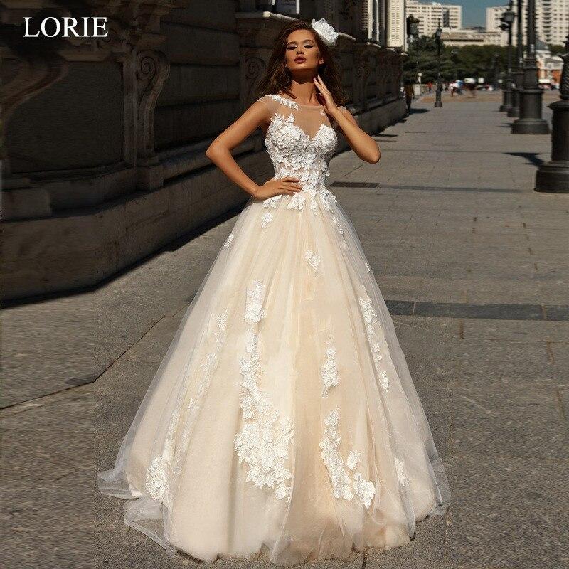 LORIE Wedding Dress 2019 White Ivory Lace Appliques Bridal Gowns A Line Illusion Long Train vestido
