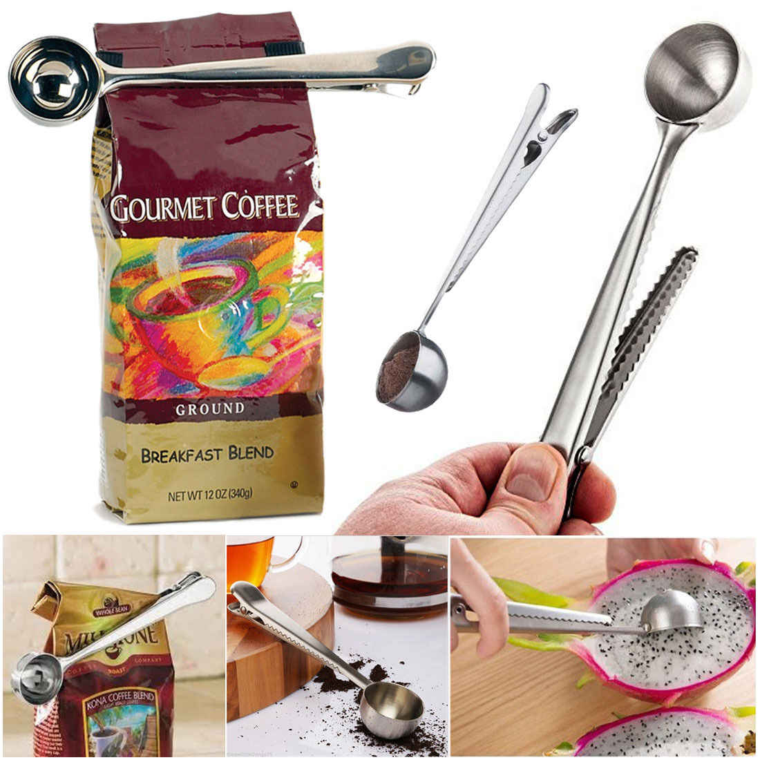 Cup Ground Coffee Measuring Stainless Steel Spoon Scoop with Bag Sealing Clip