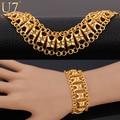 U7 Hollow Wide Bracelet For Women Gold Plated Wholesale Unique Vintage Link Chain Bracelet Women Jewelry H569