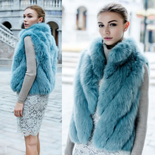 European High Fashion Streetwear Real Fox Fur vests Gilet For women , Luxury stand collar Sexy natural fur vests chalecos mujer