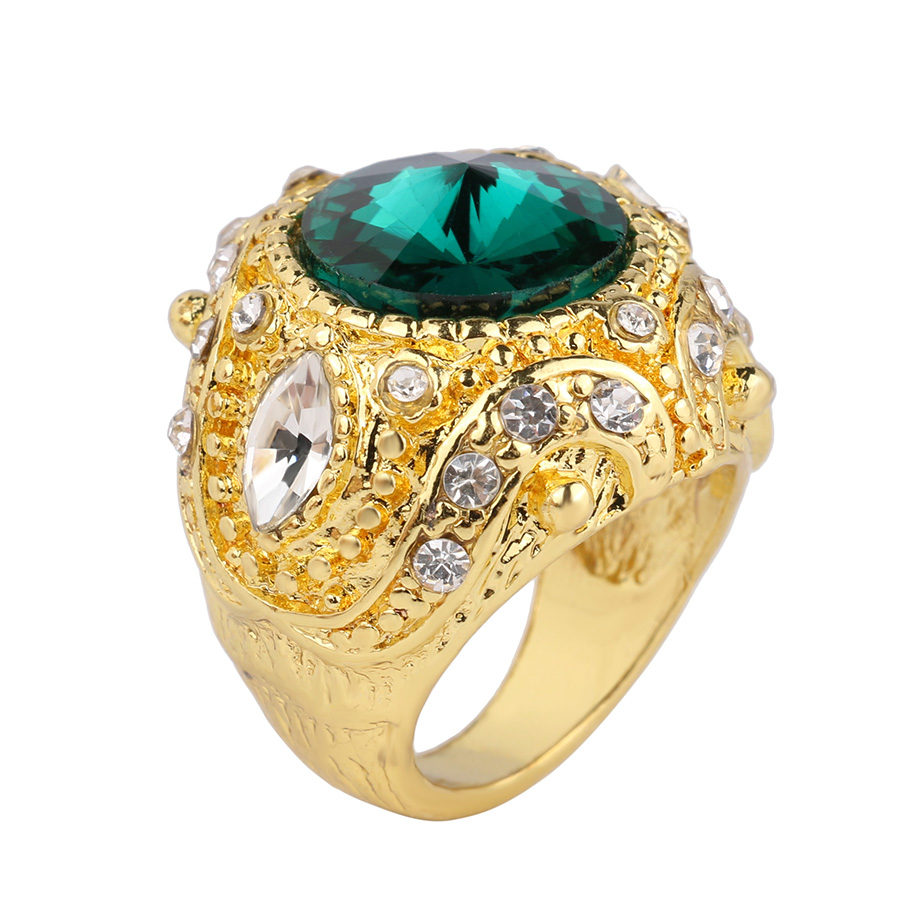 Vintage Royal Style Gold Ring Glass Big Gem Zircon Board Means Fashion Delicate Carve Designs