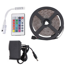 DC 12 V RGB LED Strip Light PC 2835 5M Waterproof 12V Neon Tape Flexible ledstrip Rope IR Remote Control Power Adapter full set(China)