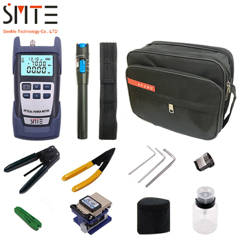 FTTH Fiber Optic Tool Kit 12pcs/set FC-6S Fiber Cleaver -70~+3dBm Optical Power Meter 5km Laser pointe joinwit jw3208a portable 70 3dbm fiber optic power meter used in telecommunications free shipping