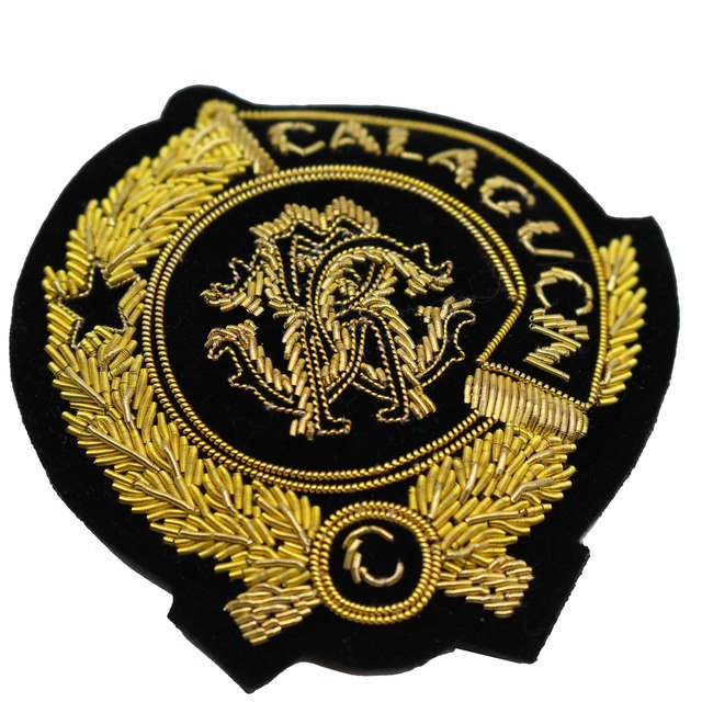 Handmade bullion wire embroidery/Goldwork badge,