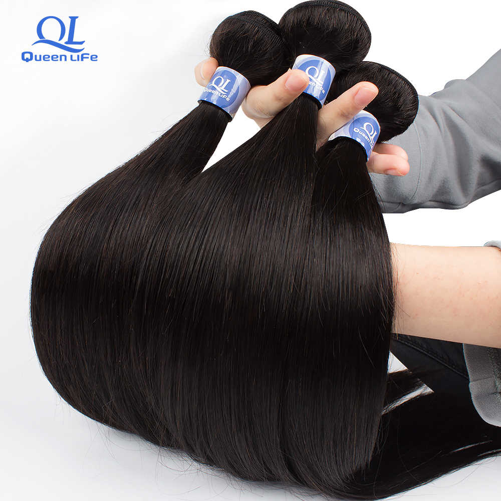 Queenlife Remy Silky Straight Hair 30 inch Bundles Peruvian human Hair bundles 8-28 inches 1/3/4 pieces for black women