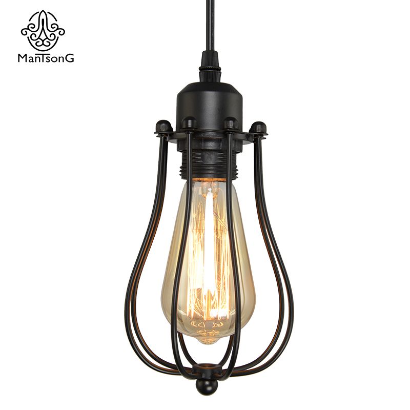Retro Iron Lamp Pendant Hanging Lamps Vintage E27 Bulb Industrial Cage Lampshade Creative Lighting Modern LED Lights diy vintage lamps antique art spider pendant lights modern retro e27 edison bulb 2 meters line home lighting suspension