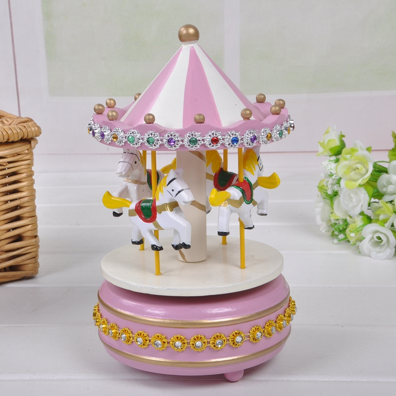 Exquisite diamond manufacturers all solid wood carousel music box music box  birthday holiday gift students