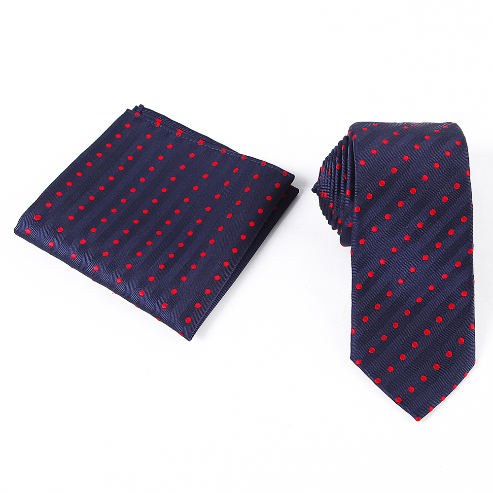 Tailor Smith Necktie Set with Pocket Square Silk Woven Navy Blue - Apparel Accessories - Photo 5