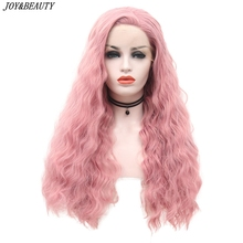 JOY&BEAUTY Pink Synthetic Lace Front Wig Glueless Heat Resistant Fiber Hair Side