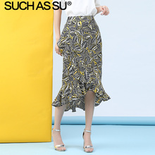 New Chiffon Print Skirt Women 2019 Summer Yellow Red High Waist Mid Long Mermaid Skirt S-3XL Plus Size Slim Ruffle Skirt Female