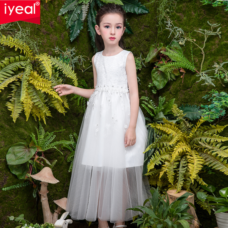 IYEAL 2018 New Prom Party Princess Flower Girl Dress Wedding Long Formal Children Birthday Dresses For Girls Kids 4-12 Years girls sleeveless princess children flower girl dress for wedding 3 14 years girls long tail party prom dresses