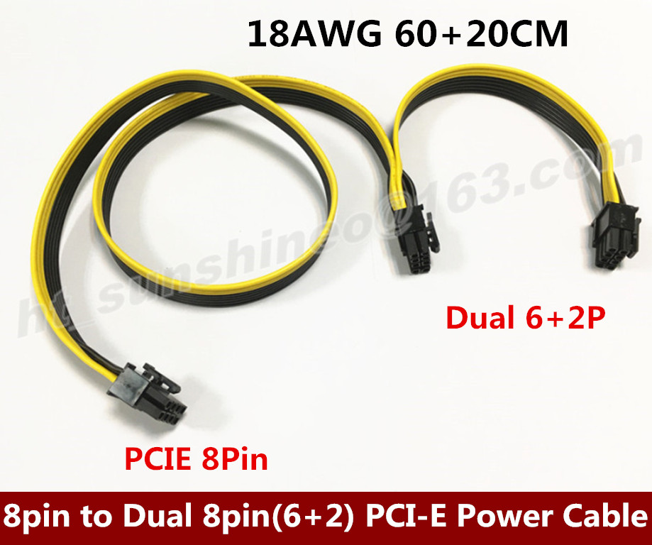 60cm+20cm 8Pin Male to Dual 8Pin(6+2p) Male Extension Power Cable for Video Card 18AWG Ribbon Cable 8p to 2*8p 20cm 60cm pci e gpu 8pin male to dual 8pin 2 6 male video card extension power cable 18awg y type ribbon cable