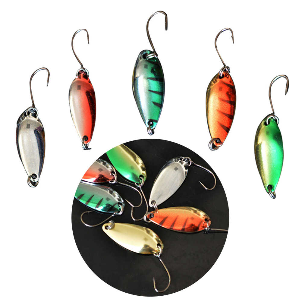 5Pcs Lure Spare Fish Hook Spinner Spoon Fishing Lure Single Hook Metal Lures Hard Baits Fishing Tackle (Assorted Colors)