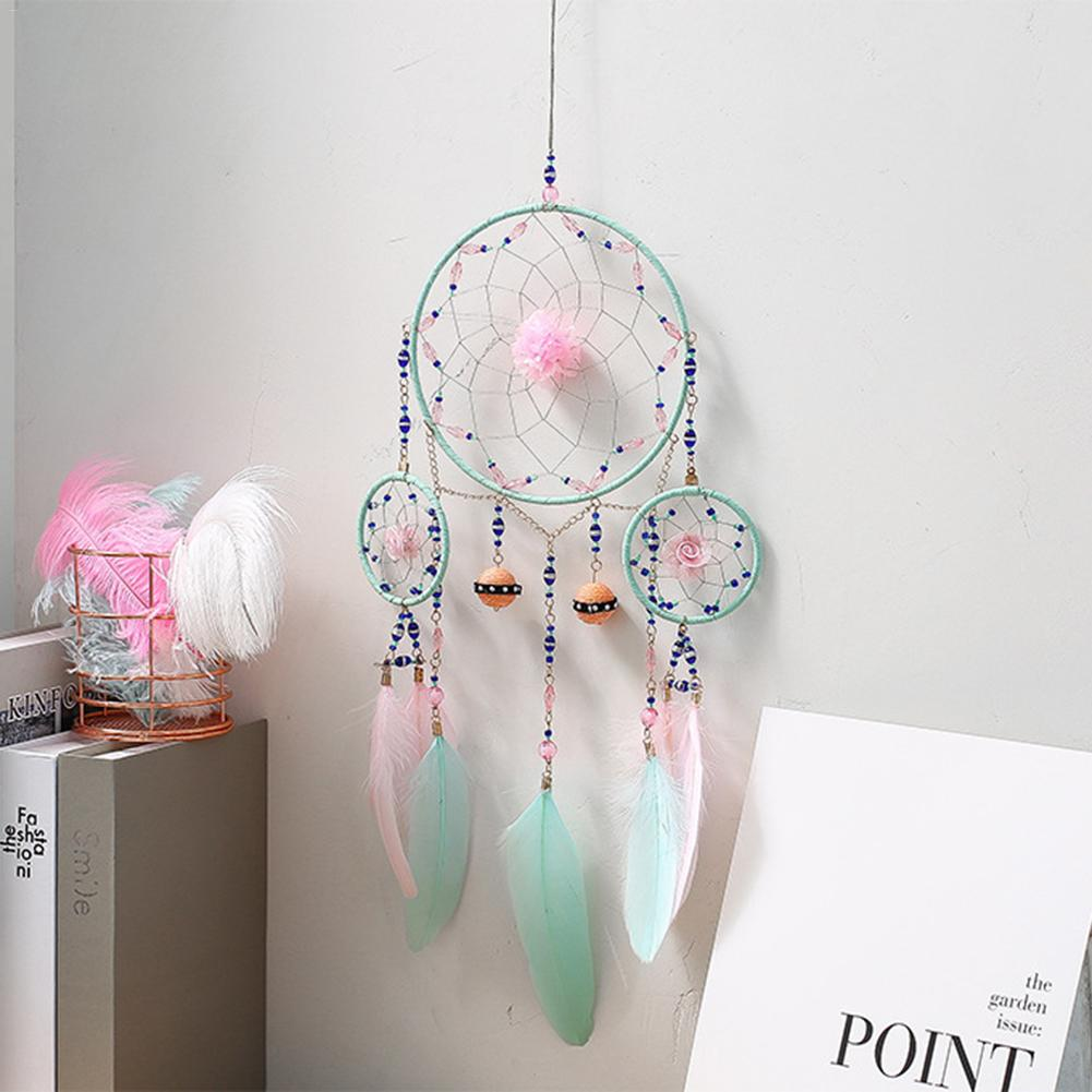 Dream Catcher with Led Light Feather Pendant Creative Hollow Wind Chimes