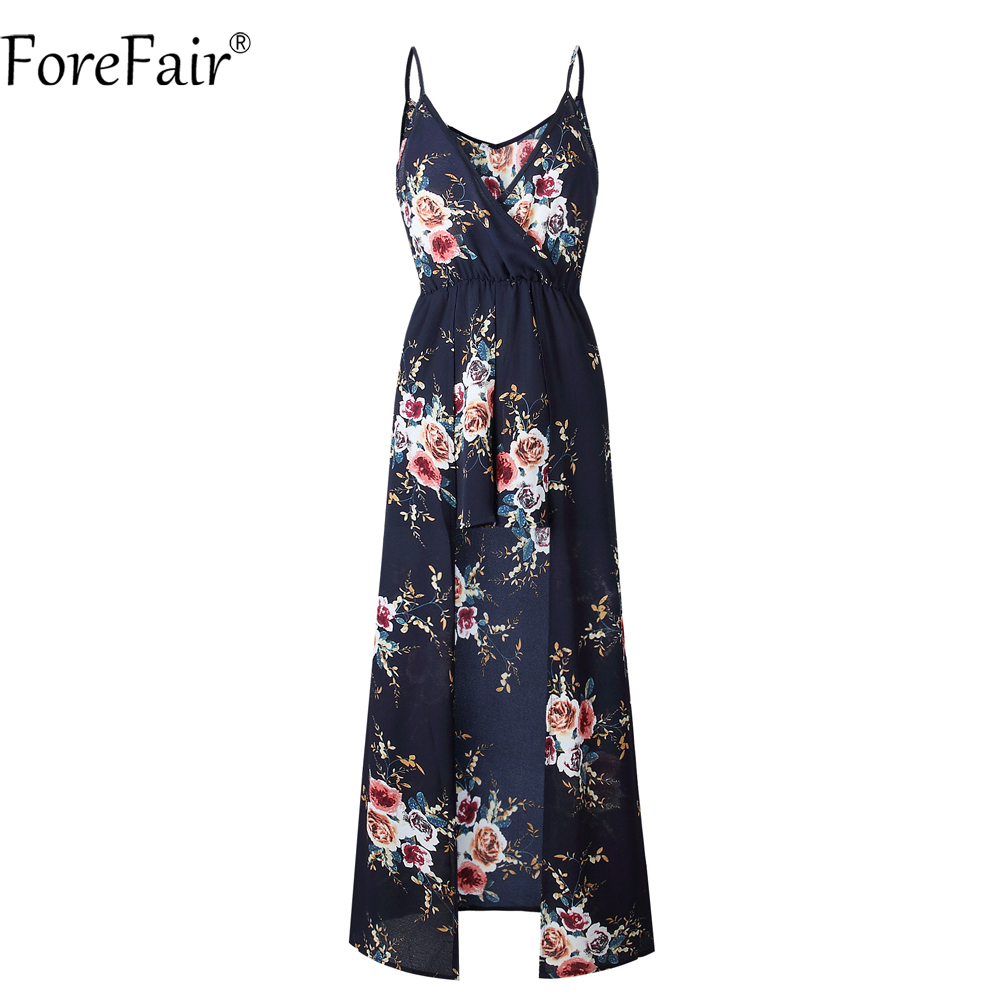 ForeFair Sexy V-neck Women Maxi Rompers Plus Size Female Blue Khaki Split Jumpsuits Summer Boho Long Playsuits 3
