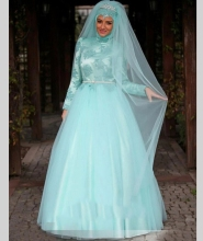 China Arab Long Sleeve Muslim Hijab Islamic Wedding Dress Ball Gown Wedding Gowns