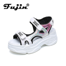 Fujin Pine Cake Thick-bottomed Sandals Dropshipping Women Summer New Casual Paste Open-toed Color Waterproof Table Shoes